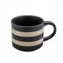Matte Charcoal Stripes Texture Mugs, Set of 4
