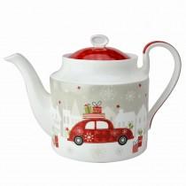 Christmas Tree and Car Bone China Teapot