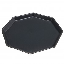 Matte Charcoal Stoneware Edged Octagon Plates, Set of 4