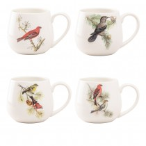 4 asst Winter Bird Mugs, Set of 4