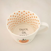 Matt White Coffee Mugs.Pumpkin Patch, Set of 4