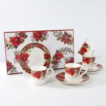 Poinsettia Demi Cups and Saucers, S/4 Gift Boxed