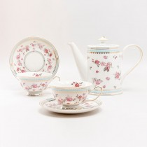 Pink Rose Blue 5 Piece Tea Set. Blue Color Boxed