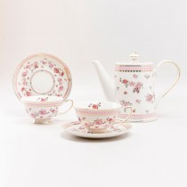 Pink Rose Pink 5 Piece Tea Set. Pink Color Boxed