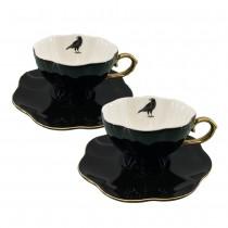 Halloween Black Crow Gold Cup Saucers, Set of 2