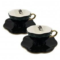 Halloween Black Spooky Snake Gold Cup Saucers, Set of 2
