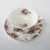 Halloween Eye Pink Gold Cup Saucers, Set of 2
