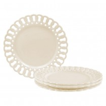 White Heirloom Dessert Plates, Set of 4