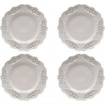 White Victorian Dessert Plates, Set of 4