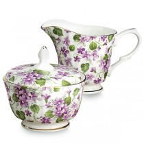 Violet Sugar and Creamer Set