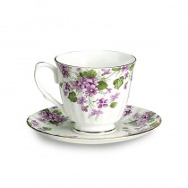 Violet Cups and Saucers Set, Set of 4