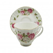 Cottage Rose Cups and Saucers, Set of 4