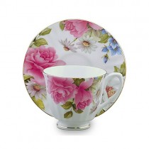 Grace's Rose Cups and Saucers Set, Set of 4