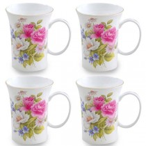 Gracie's Rose Trumpet Mugs, Set of 4