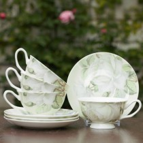 Iceberg Cups and Saucers Set, Set of 4