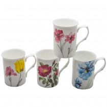 4 Assorted Watercolor Floral Can Mugs, Set of 4