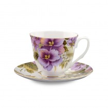 Pansy Cups and Saucers Set, Set of 4