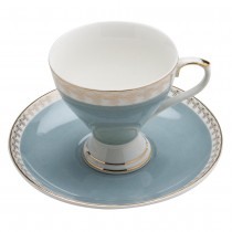 Gold Geo Light Blue Espresso Cup Saucer, Set of 4. Boxed