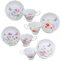 4 Assorted Meadow Scallop Cups and Saucers, Set of 4