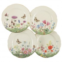 4 Assorted Meadow Dessert Plates,Set of 4
