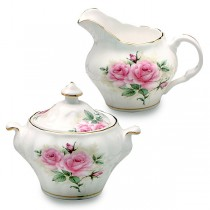 Rose Bouquet Sugar and Creamer Set