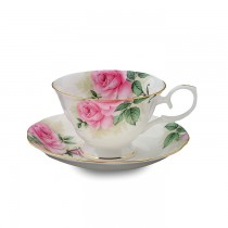 Rose Bouquet Cups and Saucers Set, Set of 4