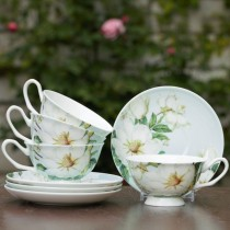 Magnolia Cups and Saucers Set, Set of 4