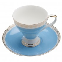 Gold Geo Blue Espresso Cup Saucer, Set of 4. Boxed