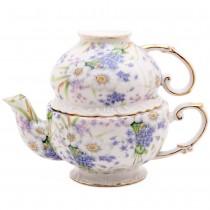 Blue Violet Bouquet 3 Piece Tea for One