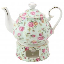 Blue Cottage Rose Chintz Teapot and Warmer 2 Piece Set