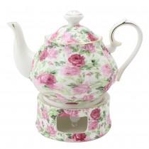 Pink Summer Rose Chintz Teapot and Warmer 2 Piece Set