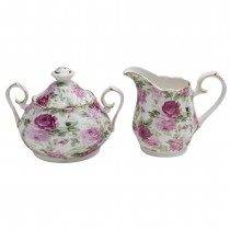 Pink Summer Rose Chintz Sugar Creamer Set