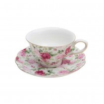 Summer Rose Chintz Cups and Saucers, Set of 4