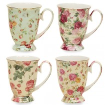 4 Assorted Rose Chintz 10 oz Footed Mug, S/4