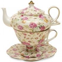 Cream Rose Chintz 4 Piece Tea for One