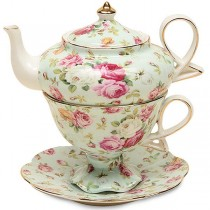 Blue Rose Chintz 4 Piece Tea for One