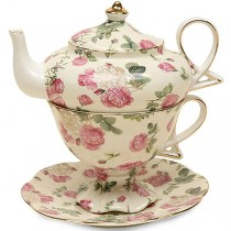 Rose Bouquet Chintz 4 Piece Tea for One