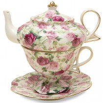 Summer Rose Chintz 4 Piece Tea for One