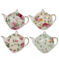4 Assorted Rose Chintz Tea Bag Holder, Set of 4
