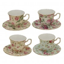 4 Assorted Rose Chintz Demi Cup and Saucer, Set of 4