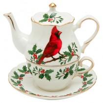Red Cardinal 4 Piece Tea for One Set