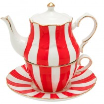 Red Carousel 4 Piece Tea for One Set