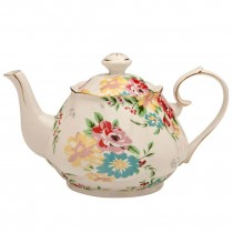 Shabby Rose Cream Teapot