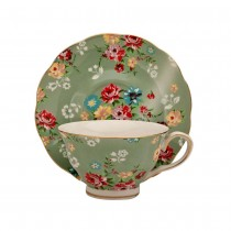 Shabby Rose Green Tea Cups and Saucers, Set of 4
