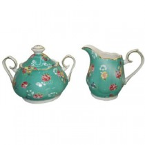 Shabby Rose Turq Sugar and Creamer
