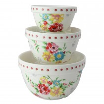 Shabby Rose 3 Piece Mixing Bowl Set
