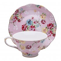 Shabby Rose Pink Tea Cups and Saucers, Set of 4