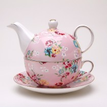 Shabby Rose Pink Tea for One Set