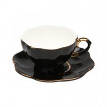Black Gold Cups and Saucers, Set of 4
