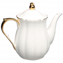 Gold White Scallop Teapot